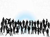 Silhouettes of business people, digitally generated image