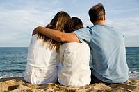 Family Relaxing at Ocean