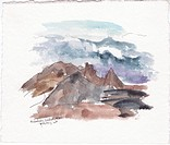 Maui, Haleakala Crater, watercolor
