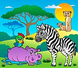 Savannah scenery with animals 4 _ picture illustration.