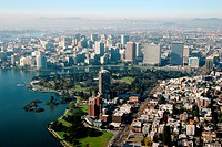 Aerial view of a city, Kaiser Center, Lake Merritt, Oakland, California, USA