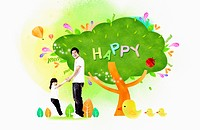 A family with green happy tree