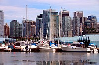 Buildings at the waterfront with boats, Coal Harbor, Vancouver, British Columbia, Canada
