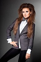 elegant fashionable woman with bow_tie
