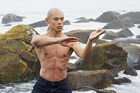 Shirtless Man Doing Martial Arts