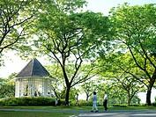 An outdoor gazebo at The Singapore Botanic Gardens