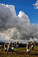 Rwanda, Virunga Area, Volcanoes National Park, Local group performing traditional dancing