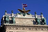 Austria, Vienna, Hofburg Neue Burg section facade, detail