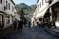 Albania, Gjirokastra, Cobblestone Street in old town