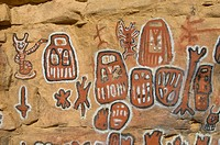 Mali, Near Bandiagara, Dogon Country, Songho Dogon Village, Ceremonial Site For Circumcision Rituals, With Cliff Paintings