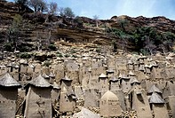 Mali, Dogon Country, Banani Village, Cliffside Dwellings Of Tellem Tribe Above Village