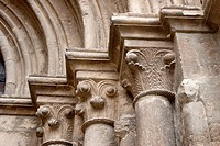 Detail of the capitals of the Church of San Miguel, Estella, Navarre, Spain, Europe