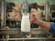 Farmer holding milk in milking parlor
