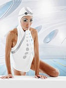 Swimmer Wearing Futuristic Outfit
