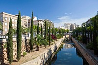 A park with tropical vegetation and fountains in Palma de Mallorca, Spain