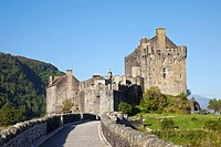 Fortified wall of a castle, Eilean Donan Castle, Loch Duich, Highlands Region, Scotland