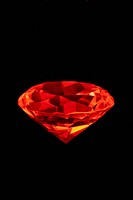 Artificial diamond lit with red light