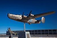 USA, Colorado, Colorado Springs, United States Air Force Academy, sculpture of World War Two-era B-24 Liberator bomber