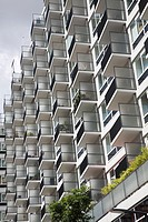 Geometric pattern formed by balconies of modern apartments in central Rotterdam, Netherlands