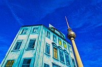TV Tower with facade of Christmas market in Berlin, Germany