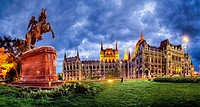 Parliament, on Pest embankment of Budapest, Hungary  Neo-Gothic ornate structure is 2nd largest building in Europe  Built 1894-1904