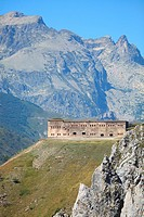 Perched fortress between France and Italy built in the 19th century, landscape of the Mercantour National Park, Col de Tende, Alpes-Maritimes, Provenc...