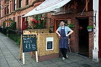 Sebastian Gawel, owner of the Number 13 Cafe, 13 Elder Street, Govan, Glasgow, Scotland, Great Britain, UK