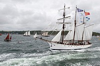 Sailing on the world's largest wooden ship, the Gotheborg, from Brest to Douarnenez, France, during the Tonnerres de Brest 2012 - International mariti...