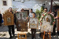 europe, greece, dodecanese, patmos island, chora, orthodox easter time, procession of the icons