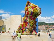Jeff Koon´s puppy sculpture outside Guggenheim museum in Bilbao, Basque Country, Spain