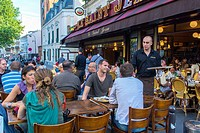People Sharing Drinks in Abesses Montmartre Area, French Bistro, Caf&#233; Restaurants 'Le Saint Jean'