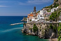 The picturesque fishing village of Atrani on the Amalfi Coast, Campania, Italy