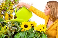 Gardening _ woman pouring water to flowers