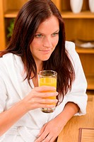 Breakfast _ Smiling woman with fresh orange juice