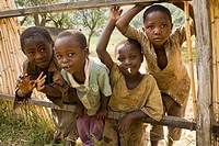 African children looking curiously, Ruwenzori Mountains, Uganda, Africa