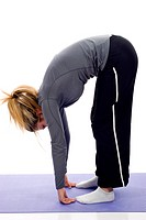 Gym woman doing stretching exercise