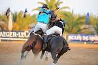 Two polo players are fighting for the ball, Ibiza, Spain, Europe