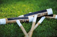 Three polo mallets lying on the grass