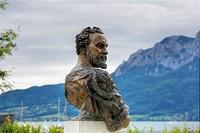 Klimt memorial, bust of Gustav Klimt, Unterach am Attersee, Salzkammergut region, Upper Austria, Austria, Europe, PublicGround
