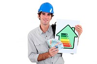 Electrician with cash and a ratings symbol
