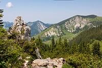 Mt Taubenstein near Spitzingsee Lake, Mt Brecherspitz, 1683m, and Mt Jaegerkampf, 1746m, at back, Mangfall Mountains, Alps, Bavaria, Germany, Europe