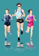 Illustration Of Female Athletes Running