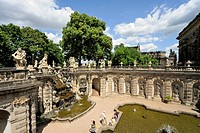 Nympths bath and water feature at the Zwinger Palace, Semper Opera at back, Dresden, Saxony, Germany, Europe