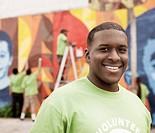 Smiling Black volunteer