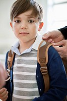 Portrait of a schoolboy with schoolbag