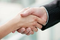 Close_up of business executives shaking hands in an office