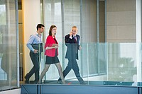 Business executives walking in an office corridor (thumbnail)