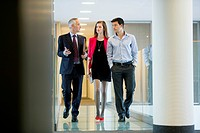 Business executives discussing in an office corridor