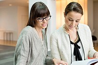 Two businesswomen discussing in an office (thumbnail)