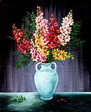 Freesia in a white amphora